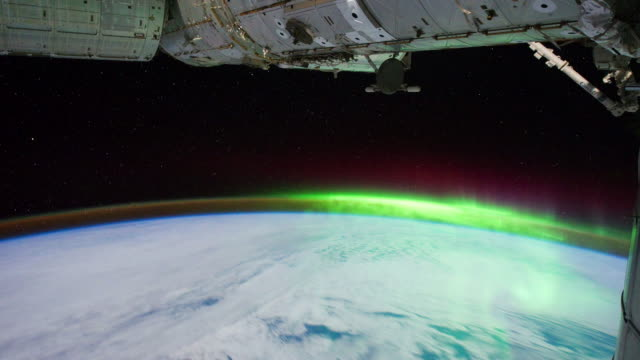 planet earth from iss or international space station:aurora australis south of australia - aurora australis stock videos & royalty-free footage