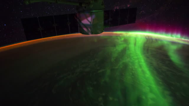 planet earth from space: awesome aurora australis from night to dawn, point of view from the international space station (iss) - aurora australis stock videos & royalty-free footage
