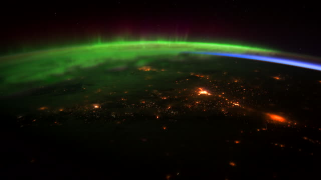 planet earth from the iss: across southwest canada at night - kennedy space center stock-videos und b-roll-filmmaterial