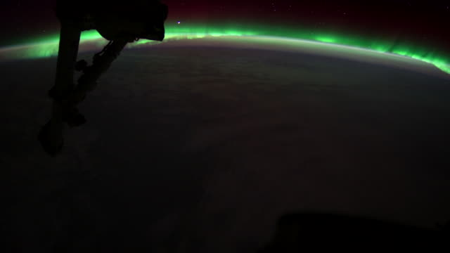 planet earth from the iss or international space station: aurora australis - aurora australis stock videos & royalty-free footage