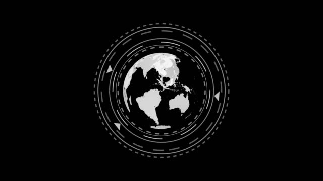 planet earth globe rotating with infographic animation in black and white loop 4k video. matte - image technique alpha channel. - matte finish stock videos & royalty-free footage