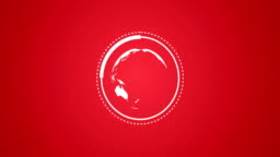Planet Earth Globe Rotating With Infographic Vector Animation in Red and White Rendered Video