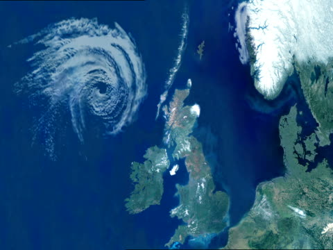 CGI, VIEW FROM SPACE, ZI,  Planet Earth, hurricane on river Thames