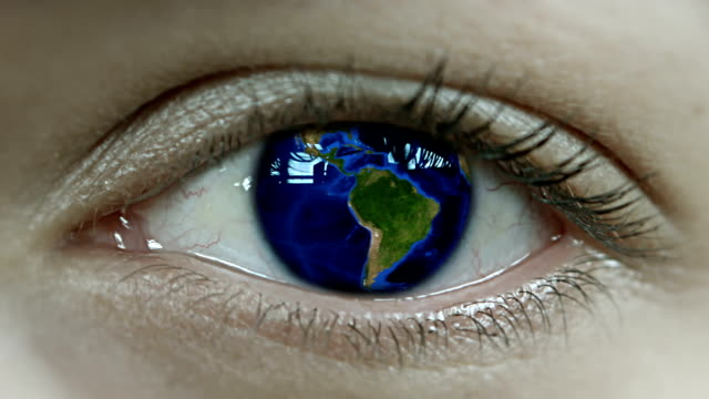 Planet Earth In Close Up Human Eye
