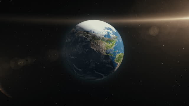 planet earth in space 3d illustration - orbiting stock videos & royalty-free footage