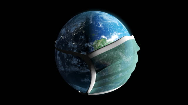 vídeos de stock e filmes b-roll de planet earth in the mask - loopable moving image