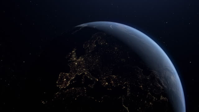 planet earth night to day europe - good condition stock videos & royalty-free footage