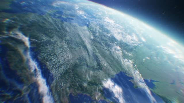 planet earth. orbiting over southern europe - scienza e tecnologia video stock e b–roll