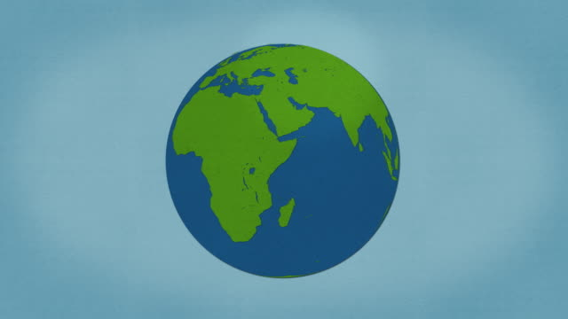 planet earth - organic paper stop frame style animation - globe navigational equipment stock videos & royalty-free footage