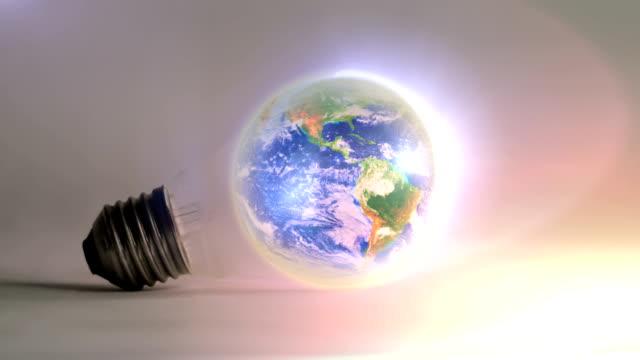 Planet Earth rotating inside a light bulb - loop. HD