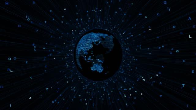 planet earth rotation mit zeichen - gepixelt stock-videos und b-roll-filmmaterial