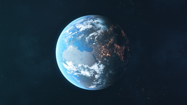 planet earth seen from space - loopable animation - turning stock videos & royalty-free footage