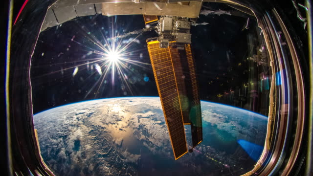 planet earth seen from space. real video. no cgi. taken from international space station - satellite video stock e b–roll