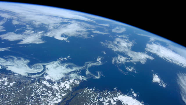 planet earth seen from space. the international space station explores every corner of our beautiful blue planet - satellite view stock videos & royalty-free footage