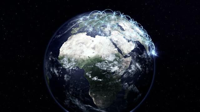 Planeet aarde naturistgedeelte door een wereldwijd computernetwerk