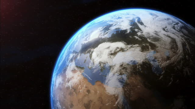 cgi, zi, planet earth, view from space - heranzoomen stock-videos und b-roll-filmmaterial