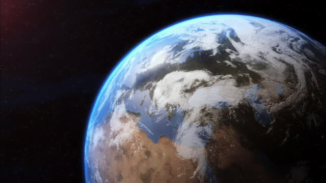 vídeos de stock, filmes e b-roll de cgi, zi, planet earth, view from space - mais zoom