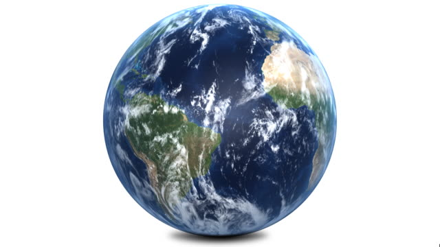 planet earth with correct rotation 1080p - white background stock videos & royalty-free footage
