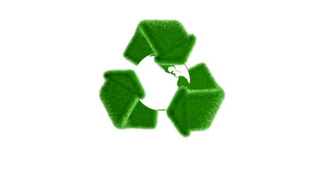 planeten jorden med återvinn symboler och ikoner - fuel and power generation bildbanksvideor och videomaterial från bakom kulisserna