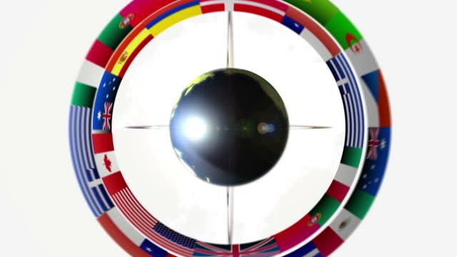 planet eath mit orbital flags white - argentinische flagge stock-videos und b-roll-filmmaterial