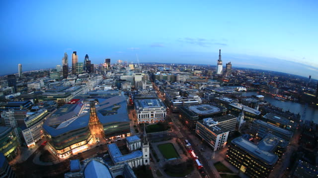 Planet London. Fish eye view of the city HD video