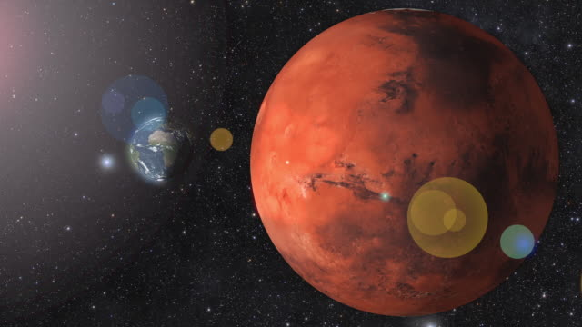 planet mars and earth rotating in the outer space. 3d rendering - 1987 stock videos & royalty-free footage