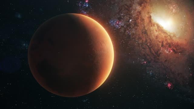 vídeos de stock, filmes e b-roll de planeta marte em espaço aberto - espaço e astronomia