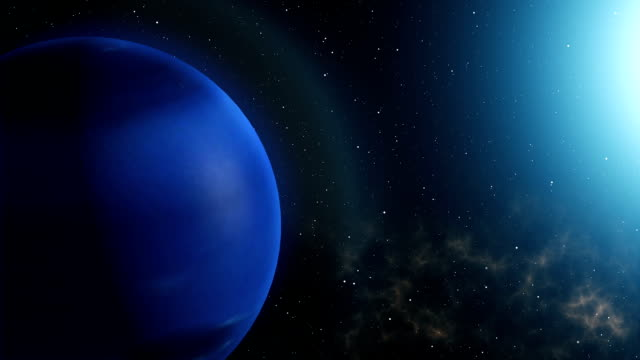 Planet Neptune Rotation in Space