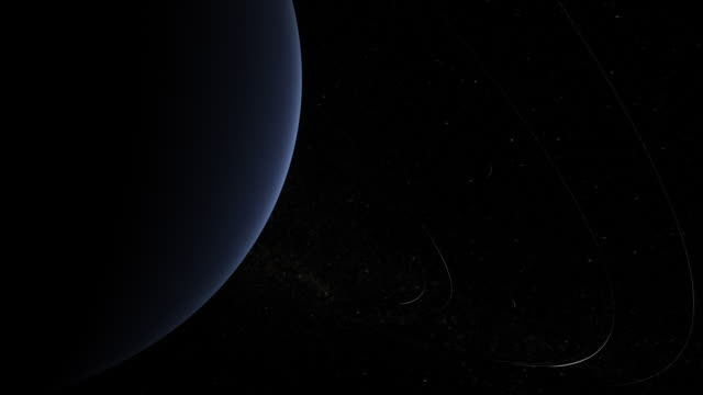 Planet Neptune's rings with sun in the distance