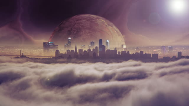 vídeos de stock e filmes b-roll de planet rising above city skyline in a futuristic world - fantasia