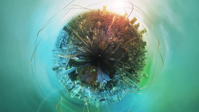 planet shape cityscape with big data trails at dusk - environmental issues stock videos & royalty-free footage
