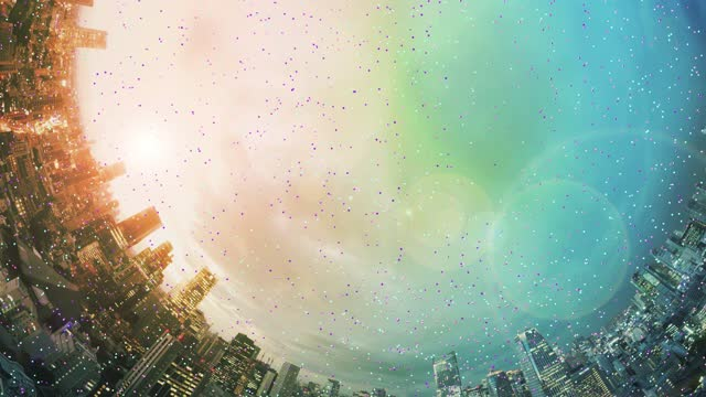planet shape cityscape with big data trails at dusk - portability video stock e b–roll