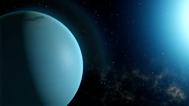 Planet Uranus Rotation in Space