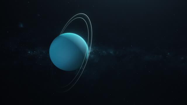 vídeos de stock e filmes b-roll de planet uranus spinning in deep space - filme documentário