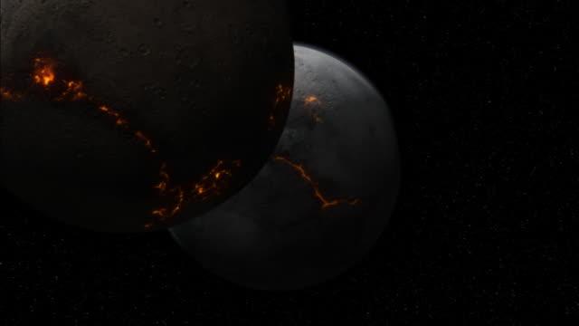 planetary collision - entrare in collisione video stock e b–roll