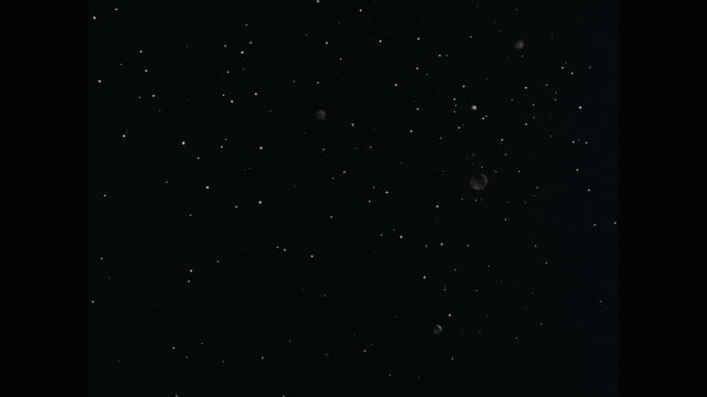 WS Planets moving in sky with star field at night / United States
