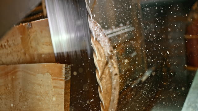 slo mo plank being cut from a log by a saw blade - lumberyard stock videos and b-roll footage