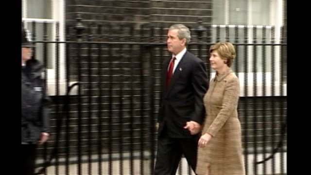 planned series of protests aimed at disturbing g20 summit / security operation; lib downing street: george w bush along with wife laura bush to... - laura bush stock videos & royalty-free footage