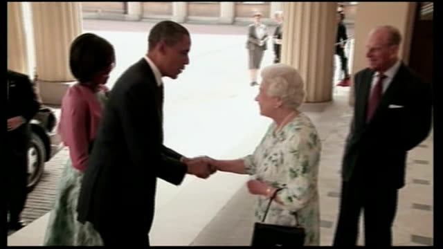 plans announced for queen's diamond jubilee celebrations; lib england: london: buckingham palace: barack obama and wife michelle obama meeting queen... - diamond jubilee stock videos & royalty-free footage