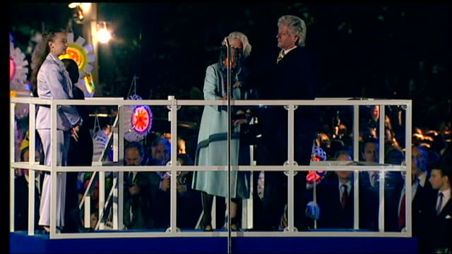plans announced for queen's diamond jubilee celebrations lib queen lighting beacon at golden jubilee celebrations - golden jubilee stock videos & royalty-free footage