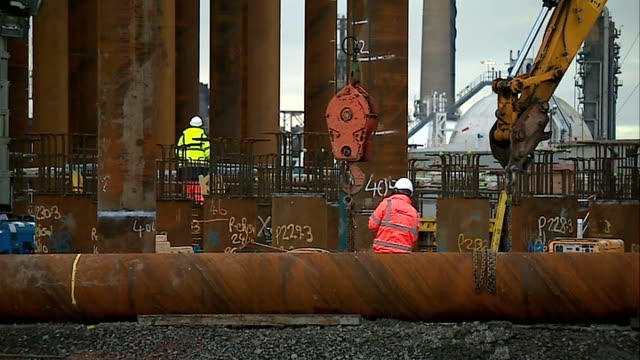 INEOS plans half a billion pound fracking investment in UK SCOTLAND Firth of Forth Grangemouth Various shots of pipework being installed at...