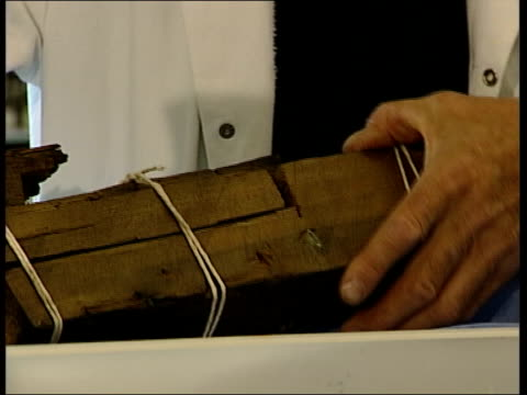 vídeos de stock e filmes b-roll de plans to save the cutty sark; london: int scientists in white coats standing around examining old piece of wood scientists carrying out electrolysis... - depilação