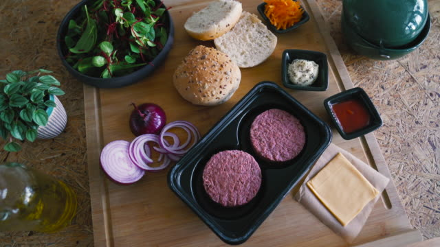 plant-based, non-meat, vegan burger - preparing food stock videos & royalty-free footage
