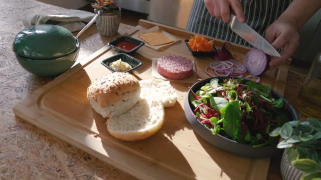plant-based, non-meat, vegan burger - vegan food stock videos & royalty-free footage