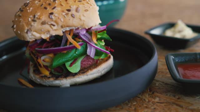 plant-based, non-meat, vegan burger - vegetarian food stock videos & royalty-free footage