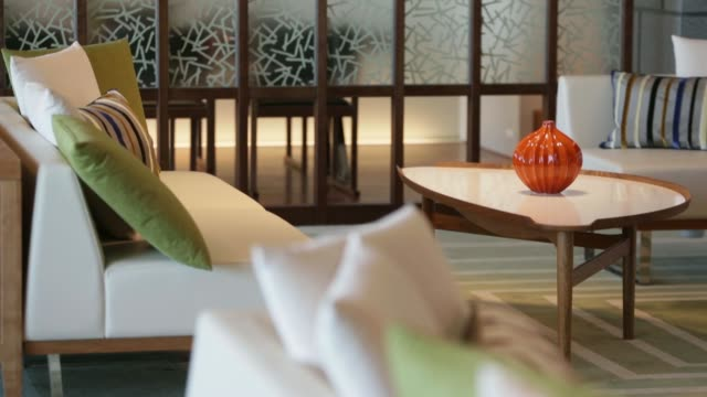 stockvideo's en b-roll-footage met plants stand opposite elevators on a residential floor in mitsui fudosan co's muromachi furukawa mitsui building during a media preview in tokyo... - dining room