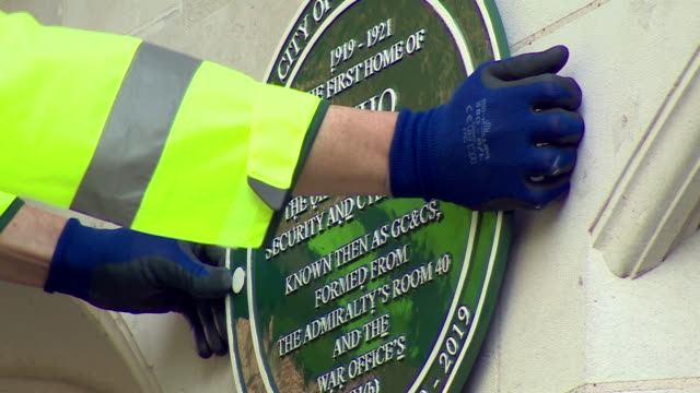 A plaque to mark 100 years of GCHQ being installed