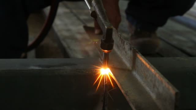 plasma cutter cutting the steel - welding torch stock videos & royalty-free footage