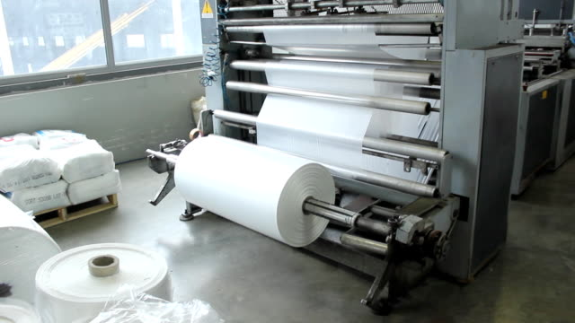 plastic bag factory - polyethylene stock videos and b-roll footage