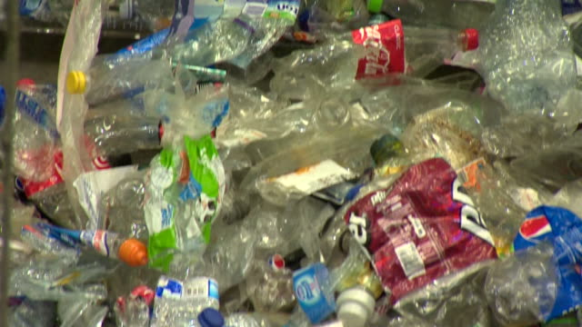 Plastic being recycled at recycling centre
